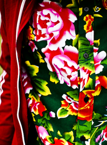 A Traditional Fabric Floral Shirt in Traditional Chinese Fabric 1 of 11