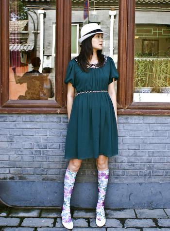 aqua girl  Floral Socks aqua girl1