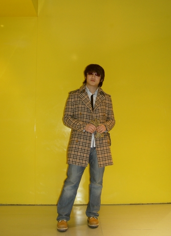 yellow  Plaid Military Coat yellow4